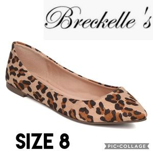 Breckelle's Womens Flats Leopard Print Pointy Toe